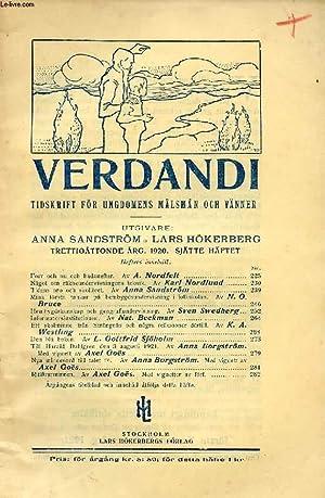 VERDANDI, TRETTIOÅTTONDE ÅRG. 1920, SJÄTTE HÄFTET, TIDSKRIFT: COLLECTIF
