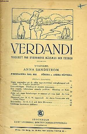 VERDANDI, FYRTIOANDRA ÅRG. 1925, FÖRSTA HÄFTET, TIDSKRIFT: COLLECTIF