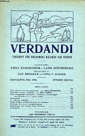 VERDANDI, TJUGUSJÄTTE ÅRG. 1908, ÅTTONDE HÄFTET, TIDSKRIFT FÖR UNGDOMENS...