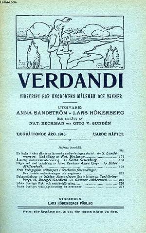 VERDANDI, TJUGUÅTTONDE ÅRG. 1910, FJÄRDE HÄFTET, TIDSKRIFT FÖR UNGDOMENS...