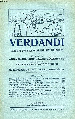 VERDANDI, TJUGUÅTTONDE ÅRG. 1910, FEMTE O. SJÄTTE HÄFTET, TIDSKRIFT FÖR ...