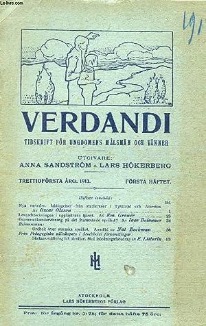 VERDANDI, TRETTIOFÖRSTA ÅRG. 1913, FÖRSTA HÄFTET, TIDSKRIFT: COLLECTIF