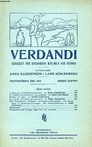 VERDANDI, TRETTIOFÖRSTA ÅRG. 1913, FJÄRDE HÄFTET, TIDSKRIFT: COLLECTIF