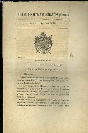 RECUEIL DES ACTES ADMINISTRATIFS (GIRONDE) N°39: COLLECTIF