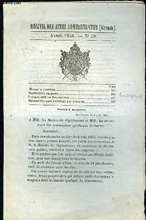 RECUEIL DES ACTES ADMINISTRATIFS (GIRONDE) N°38 - Marais a sangsues.Instruction primaireLoterie...