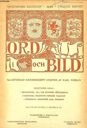 ORD OCH BILD, TJUGUNIONDE ÅRGÅNGEN, 1920, ÅTTONDE HÄFTET (INNEHÅLL: Kring Gustaf III:s porträtten ...