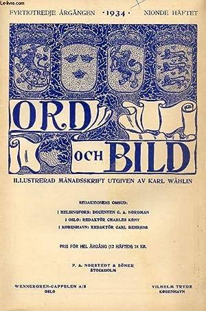 ORD OCH BILD, FYRTIOANDRA ÅRGÅNGEN, 1934, NIONDE HÄFTET (INNEHÅLL: ...