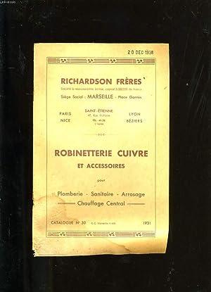 CATALOGUE DE ROBINETTERIE CUIVRE ET ACCESSOIRES. N°30.: COLLECTIF.