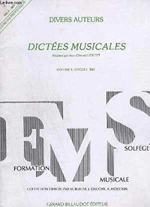 DICTEES MUSICALES - VOLUME 1 - CYCLE 1 - IM3.: COLLECTIF