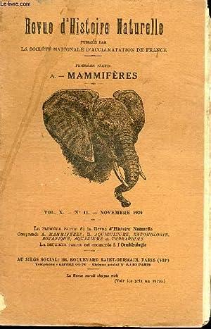 REVUE D'HISTOIRE NATURELLE APPLIQUEE - VOL.X - N°11 - NOVEMBER 1929 / LA CHEVRE DANS L'...