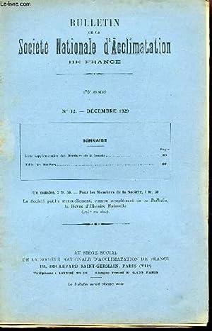 BULLETIN DE LA SOCIETE D'ACCLIMATATION DE FRANCE / 76e ANNEE - N°12 - DECEMBRE 1929 &...