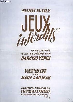MUSIQUE DU FILM JEUX INTERDITS POUR PIANO: LANJEAN MARC
