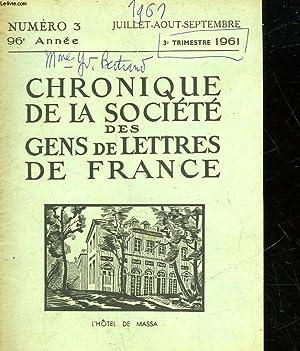 CHRONIQUE DE LA SOCIETE DES GENS DE LETTRES DE FRANCE - N°3: COLLECTIF