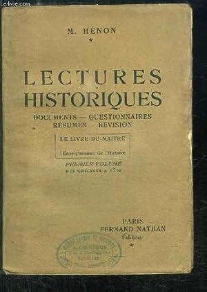 Lectures Historiques. Le Livre du Maître pour l'enseignement de l'Histoire. 1er ...