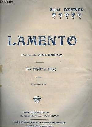 LAMENTO - PIANO + CHANT.: DEVRED RENE