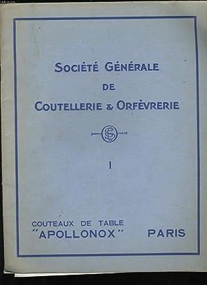 CATALOGUE DE COUTEAUX ET ORFEVRES N°1. APOLLONOX.: COLLECTIF.