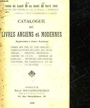 CATALOGUE DE LIVRES ANCIENS ET MODERNES: COLLECTIF