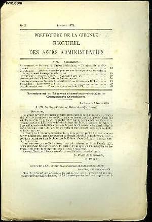 PREFECTURE DE LA GIRONDE RECUEIL DES ACTES ADMINISTRATIFS N° 2 - Recrutement. — Réserves...