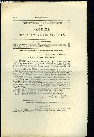 PREFECTURE DE LA GIRONDE RECUEIL DES ACTES ADMINISTRATIFS N° 35 - Archives communales.   Récolement...