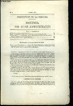 PREFECTURE DE LA GIRONDE RECUEIL DES ACTES ADMINISTRATIFS N° 4 - Publication et recouvrement ...