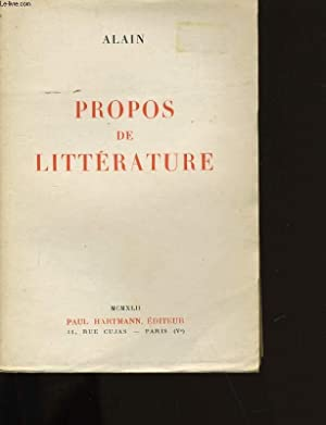 PROPOS DE LITTERATURE.: ALAIN.