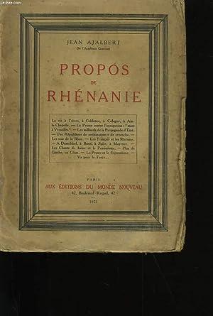 PROPOS DE RHENANIE.: JEAN AJALBERT.
