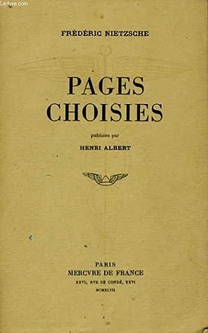 PAGES CHOISIES: NIETZSCHE Frédéric