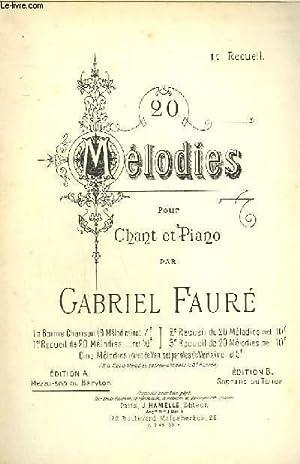 20 MELODIES POUR CHANT ET PIANO -: FAURE GABRIEL