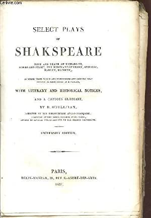 SELECT PLAYS OF SHAKSPEARE / LIFE AND: SHAKESPEARE WILLIAM