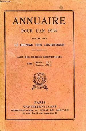 ANNUAIRE POUR L'AN 1934: COLLECTIF
