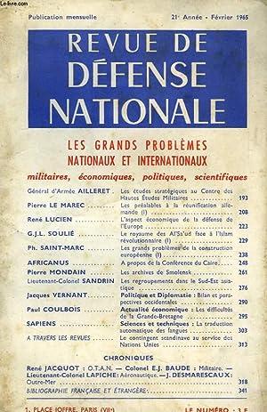 REVUE DE DEFENSE NATIONALE, 21e ANNEE, FEV. 1965: COLLECTIF