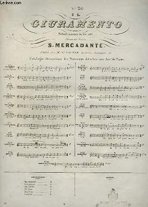 IL CIURAMENTO - N°20 : ROMANZA POUR PIANO.: MERCADANTE S.