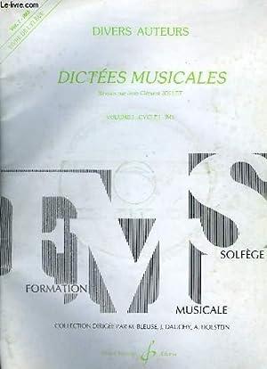 DICTEES MUSICALES - VOLUME 1 : CYCLE 1 - IM3 LIVRE DE L'ELEVE - AVEC DISQUE COMPACT.: JOLLET ...