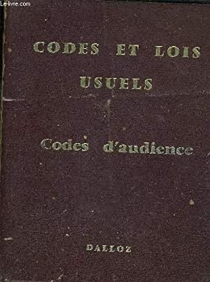 CODES ET LOIS USUELS - CODES D'AUDIENCE / 35E EDITION.: DALLOZ