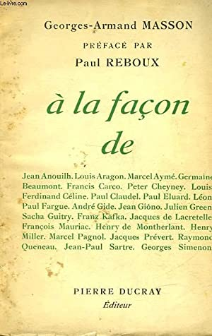 A LA FACON DE.: MASSON GEORGES-ARMAND