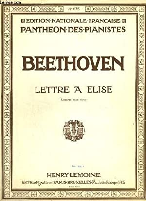 LETTRE A ELISE - RONDEAU POUR PIANO.: BEETHOVEN