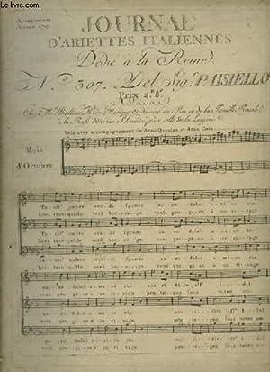 JOURNAL D'ARIETTES ITALIENNES - N°307 : MOIS D'OCTOBRE 1791 - TRIO AVEC ...