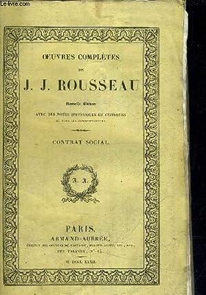 OEUVRES COMPLETES DE J.J. ROUSSEAU - NOUVELLE: J.J. ROUSSEAU