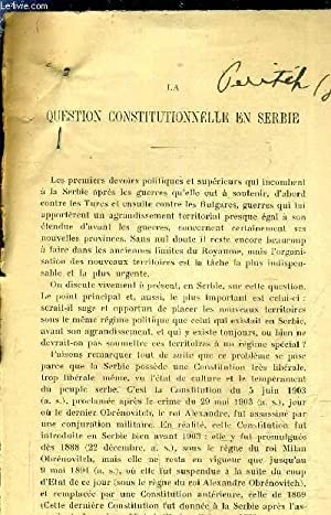 "TIRE A PART ""LA QUESTION CONSTITUTIONNELLE EN SERBIE"".: J.PERITCH"