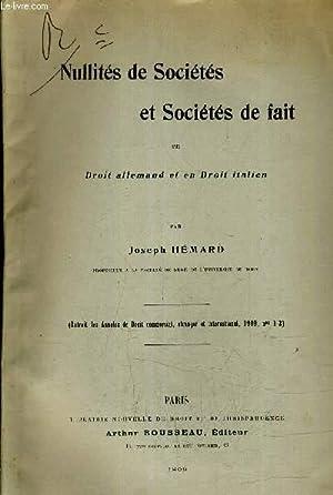 NULLITES DE SOCIETES ET SOCIETES DE FAIT EN DROIT ALLEMAND ET EN DROIT ITALIEN - EXTRAIT DES ...