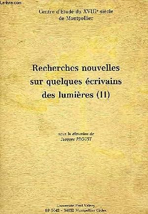 RECHERCHES NOUVELLES SUR QUELQUES ECRIVAINS DES LUMIERES, II: COLLECTIF
