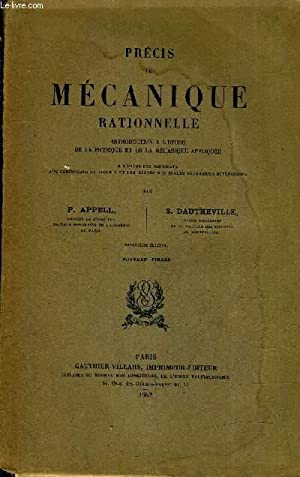PRECIS DE MECANIQUE RATIONNELLE INTRODUCTION A L'ETUDE DE LA PHYSIQUE ET DE LA MECANIQUE ...