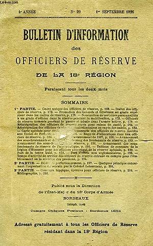 BULLETIN D'INFORMATION DES OFFICIERS DE RESERVE DE LA 18e REGION, 4e ANNEE, N° 20, 1er ...