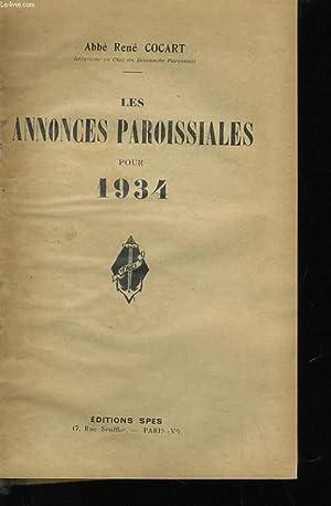 LES ANNONCES PAROISSIALES POUR 1934: ABBE RENE COCART