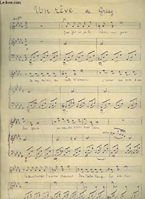 PARTITION MANUSCRITE : UN REVE - POUR PIANO ET CHANT AVEC PAROLES.: GRIEG