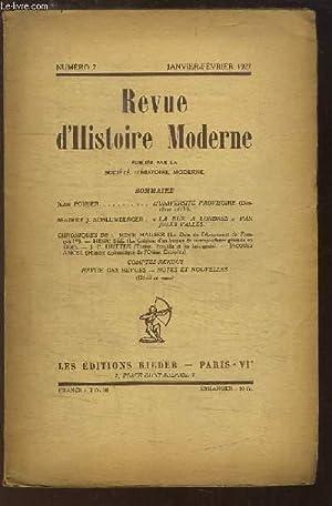 Revue d'Histoire Moderne. N°7 : L'Université Provisoire (2e art), de POIRIER -...