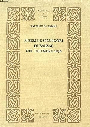 MISERIE E SPLENDORI DI BALZAC NEL DICEMBRE 1836: DE CESARE RAFFAELE