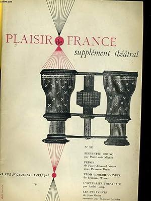 PLAISIR DE FRANCE SUPPLEMENT THEATRAL N°333: COLLECTIF