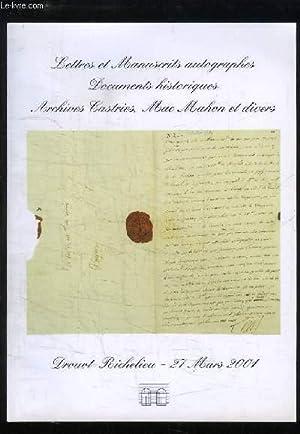 Lettres et Manuscrits autographes, Documents historiques, Archives: ETUDE ANTOINE ADER
