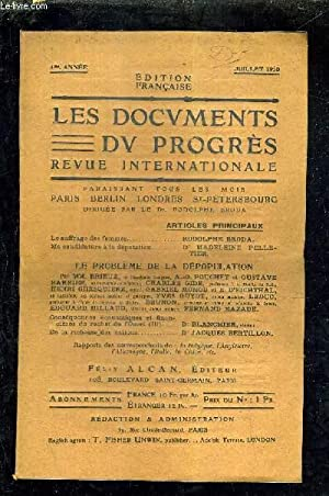 LES DOCUMENTS DU PROGRES - REVUE INTERNATIONALE - 4E ANNEE - JUILLET 1910 - le suffrage des femmes ...